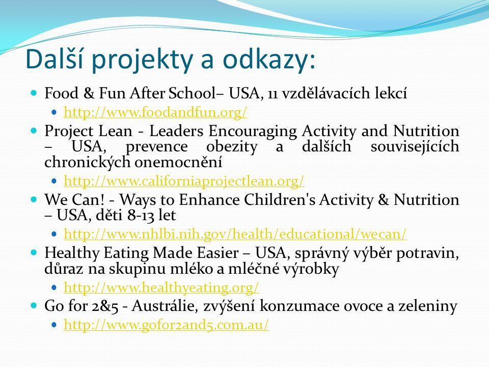 Další projekty a odkazy: Food & Fun After School– USA, 11 vzdělávacích lekcí http://www.foodandfun.org/ Project Lean - Leaders Encouraging Activity an