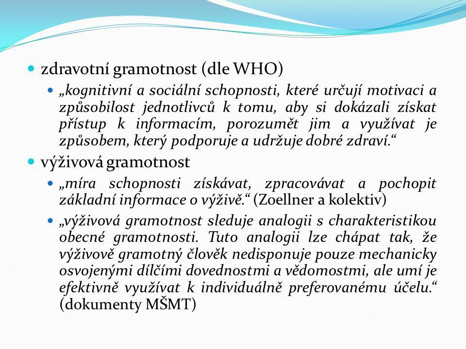 """zdravotní gramotnost (dle WHO) """"kognitivní a sociální schopnosti, které určují motivaci a způsobilost jednotlivců k tomu, aby si dokázali získat příst"""