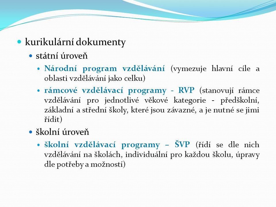 kurikulární dokumenty státní úroveň Národní program vzdělávání (vymezuje hlavní cíle a oblasti vzdělávání jako celku) rámcové vzdělávací programy - RV