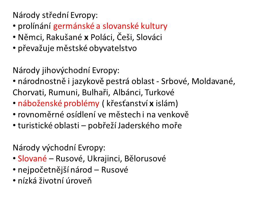 Národy střední Evropy: prolínání germánské a slovanské kultury Němci, Rakušané x Poláci, Češi, Slováci převažuje městské obyvatelstvo Národy jihovýcho