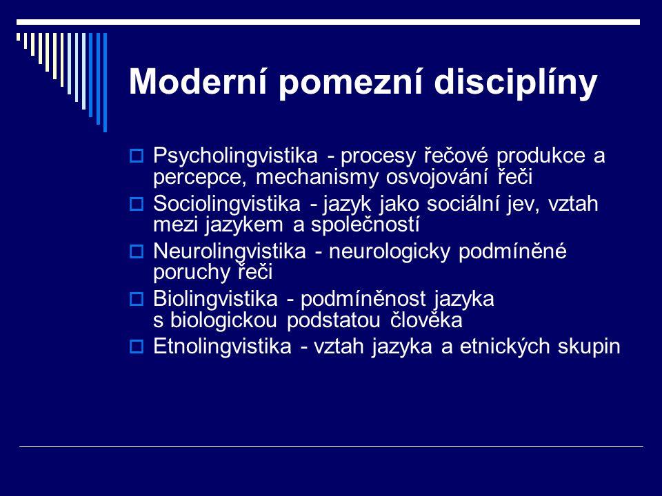 Moderní pomezní disciplíny  Psycholingvistika - procesy řečové produkce a percepce, mechanismy osvojování řeči  Sociolingvistika - jazyk jako sociální jev, vztah mezi jazykem a společností  Neurolingvistika - neurologicky podmíněné poruchy řeči  Biolingvistika - podmíněnost jazyka s biologickou podstatou člověka  Etnolingvistika - vztah jazyka a etnických skupin