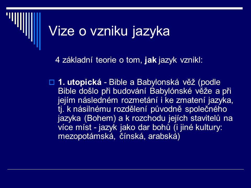 Vize o vzniku jazyka 4 základní teorie o tom, jak jazyk vznikl:  1.