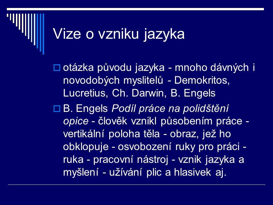 Vize o vzniku jazyka  otázka původu jazyka - mnoho dávných i novodobých myslitelů - Demokritos, Lucretius, Ch.