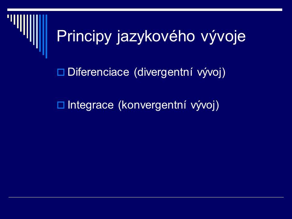 Principy jazykového vývoje  Diferenciace (divergentní vývoj)  Integrace (konvergentní vývoj)