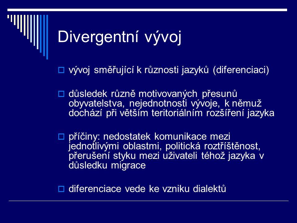 Divergentní vývoj  vývoj směřující k různosti jazyků (diferenciaci)  důsledek různě motivovaných přesunů obyvatelstva, nejednotnosti vývoje, k němuž dochází při větším teritoriálním rozšíření jazyka  příčiny: nedostatek komunikace mezi jednotlivými oblastmi, politická roztříštěnost, přerušení styku mezi uživateli téhož jazyka v důsledku migrace  diferenciace vede ke vzniku dialektů