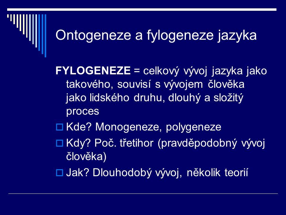 Ontogeneze a fylogeneze jazyka FYLOGENEZE = celkový vývoj jazyka jako takového, souvisí s vývojem člověka jako lidského druhu, dlouhý a složitý proces  Kde.