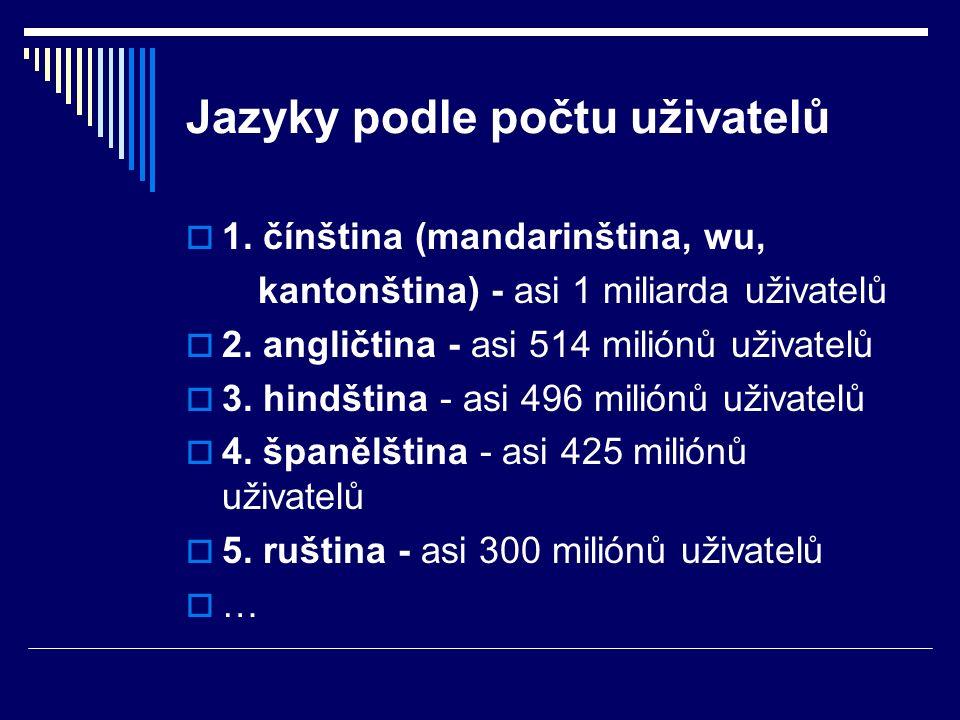 Jazyky podle počtu uživatelů  1.