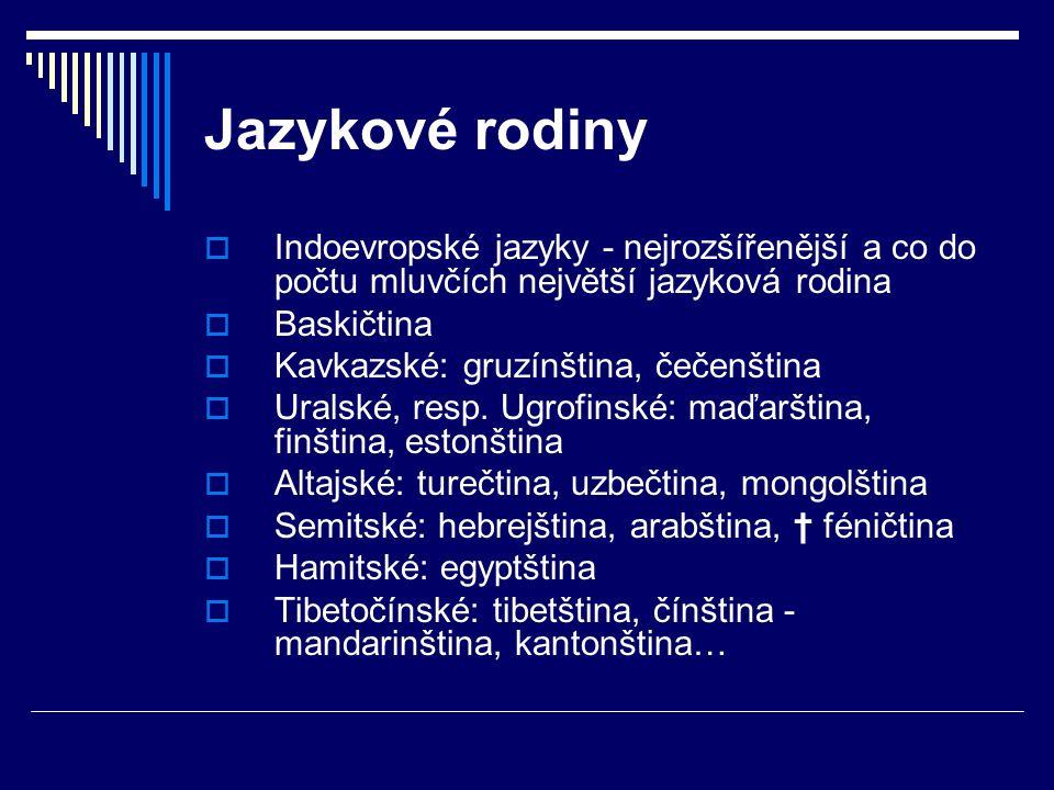 Jazykové rodiny  Indoevropské jazyky - nejrozšířenější a co do počtu mluvčích největší jazyková rodina  Baskičtina  Kavkazské: gruzínština, čečenština  Uralské, resp.