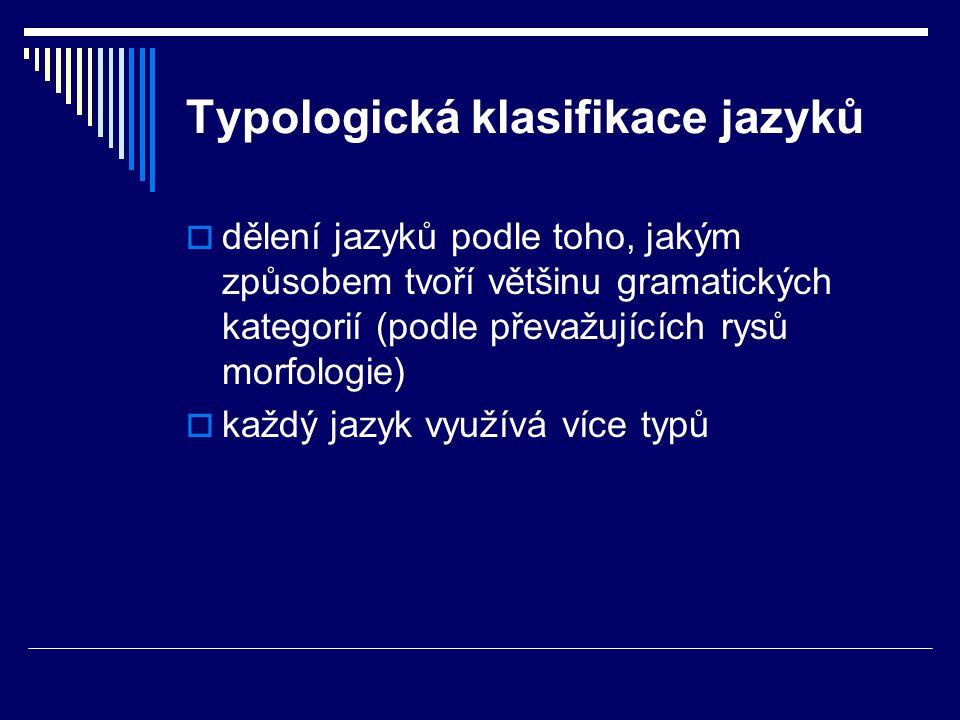 Typologická klasifikace jazyků  dělení jazyků podle toho, jakým způsobem tvoří většinu gramatických kategorií (podle převažujících rysů morfologie)  každý jazyk využívá více typů