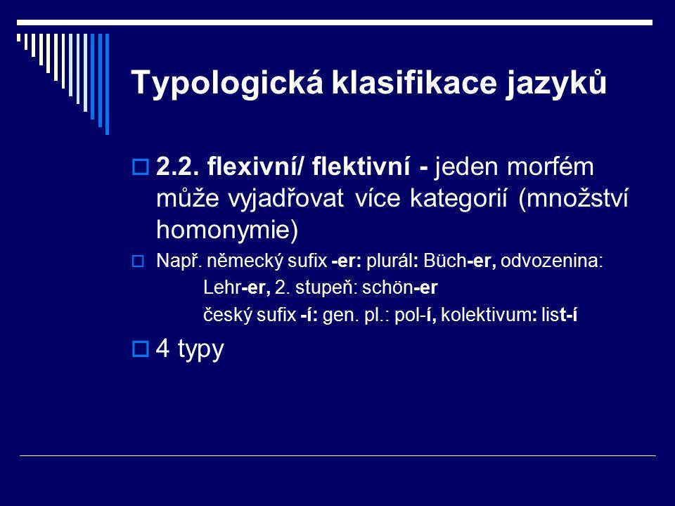 Typologická klasifikace jazyků  2.2.