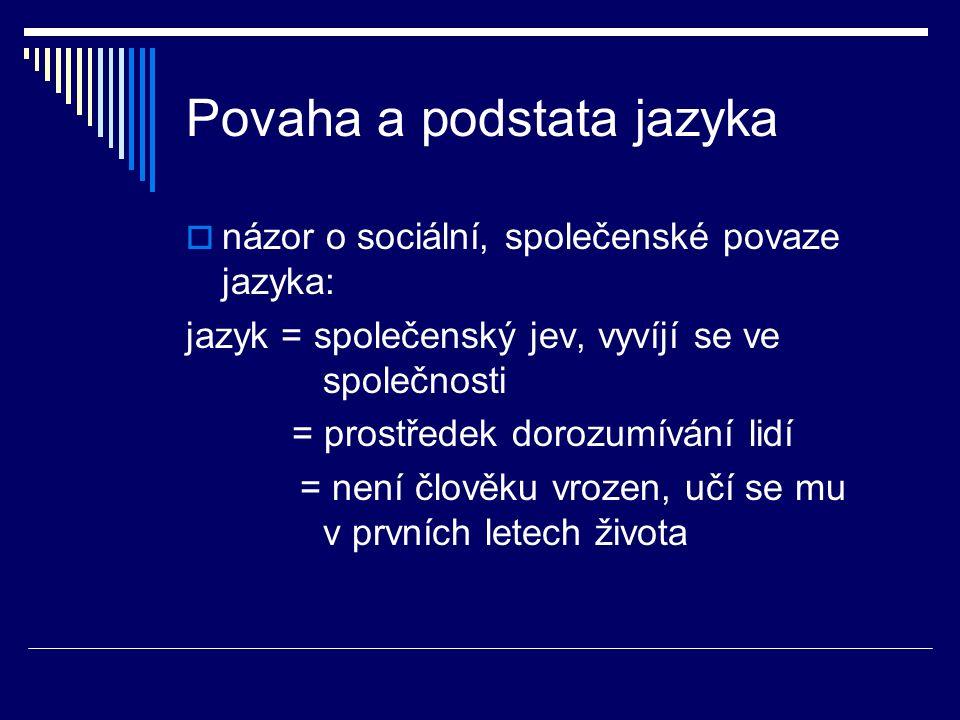 Povaha a podstata jazyka  názor o sociální, společenské povaze jazyka: jazyk = společenský jev, vyvíjí se ve společnosti = prostředek dorozumívání lidí = není člověku vrozen, učí se mu v prvních letech života