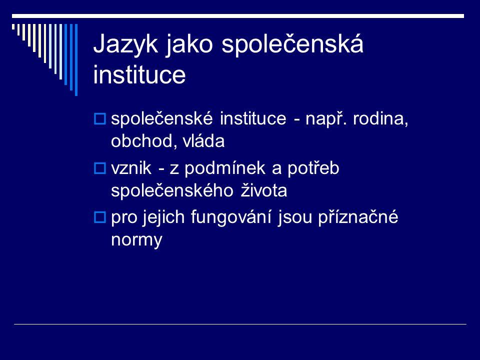 Jazyk jako společenská instituce  společenské instituce - např.