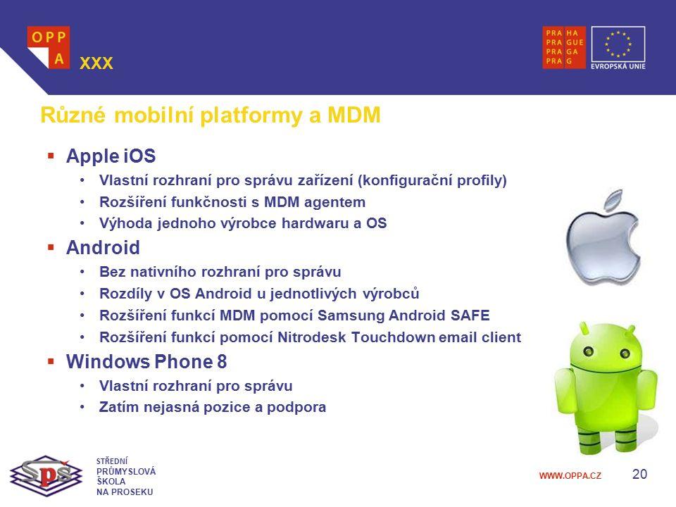 WWW.OPPA.CZ 20 XXX STŘEDNÍ PRŮMYSLOVÁ ŠKOLA NA PROSEKU Různé mobilní platformy a MDM  Apple iOS Vlastní rozhraní pro správu zařízení (konfigurační pr