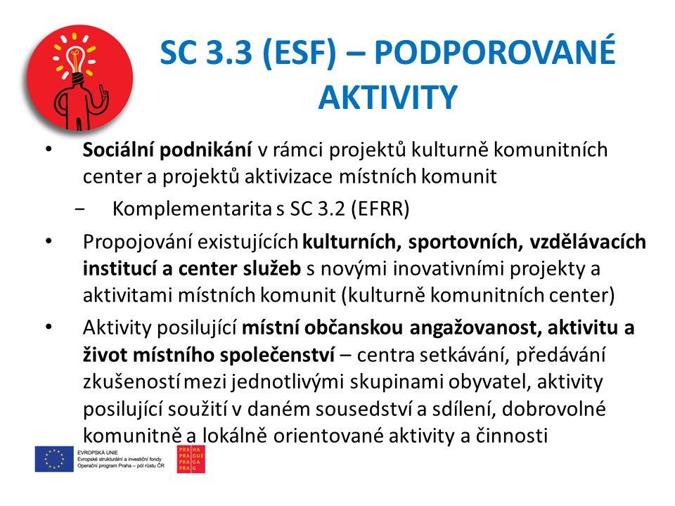 SC 3.3 (ESF) – PODPOROVANÉ AKTIVITY Sociální podnikání v rámci projektů kulturně komunitních center a projektů aktivizace místních komunit −Komplementarita s SC 3.2 (EFRR) Propojování existujících kulturních, sportovních, vzdělávacích institucí a center služeb s novými inovativními projekty a aktivitami místních komunit (kulturně komunitních center) Aktivity posilující místní občanskou angažovanost, aktivitu a život místního společenství – centra setkávání, předávání zkušeností mezi jednotlivými skupinami obyvatel, aktivity posilující soužití v daném sousedství a sdílení, dobrovolné komunitně a lokálně orientované aktivity a činnosti
