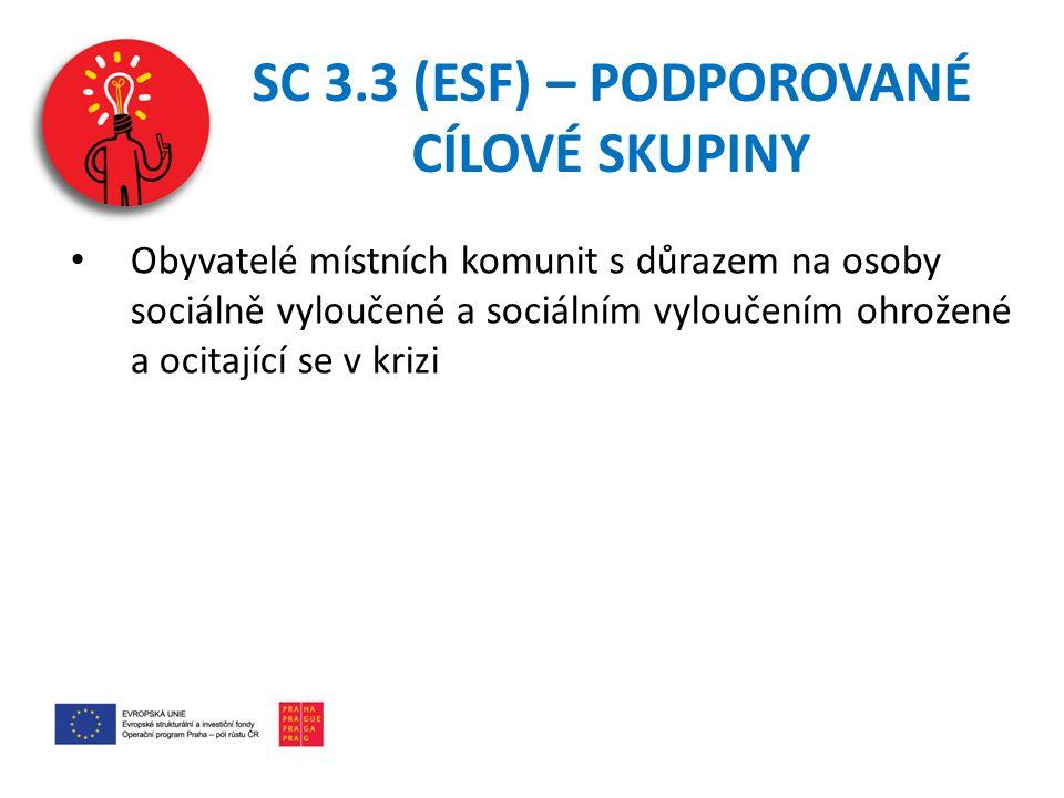 SC 3.3 (ESF) – PODPOROVANÉ CÍLOVÉ SKUPINY Obyvatelé místních komunit s důrazem na osoby sociálně vyloučené a sociálním vyloučením ohrožené a ocitající se v krizi