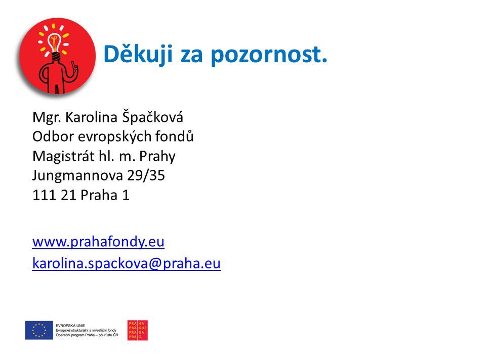 Děkuji za pozornost.Mgr. Karolina Špačková Odbor evropských fondů Magistrát hl.