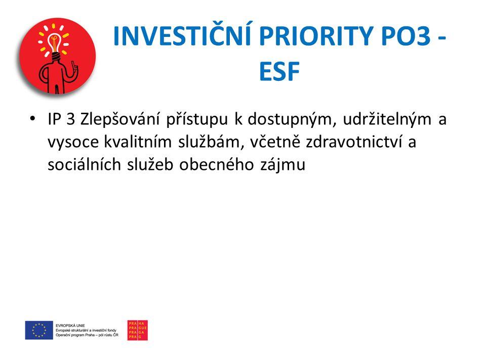 INVESTIČNÍ PRIORITY PO3 - ESF IP 3 Zlepšování přístupu k dostupným, udržitelným a vysoce kvalitním službám, včetně zdravotnictví a sociálních služeb obecného zájmu