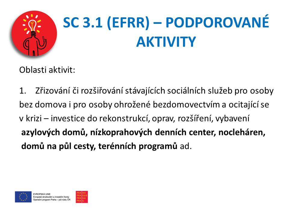 SC 3.1 (EFRR) – PODPOROVANÉ AKTIVITY Oblasti aktivit: 1.