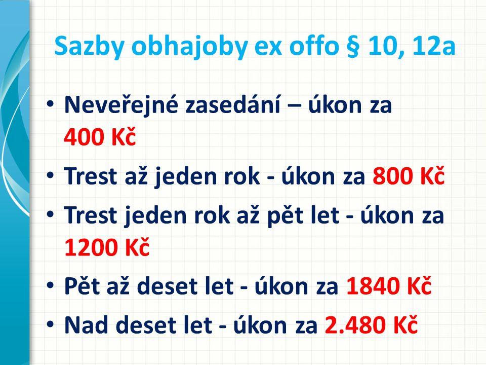 Sazby obhajoby ex offo § 10, 12a Neveřejné zasedání – úkon za 400 Kč Trest až jeden rok - úkon za 800 Kč Trest jeden rok až pět let - úkon za 1200 Kč