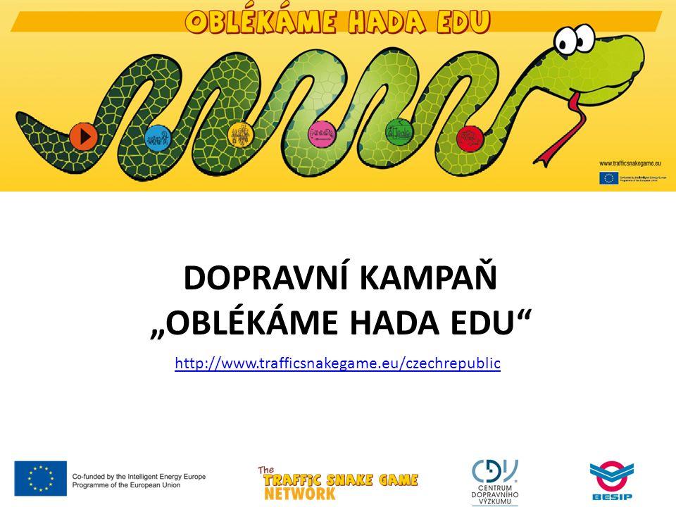 """DOPRAVNÍ KAMPAŇ """"OBLÉKÁME HADA EDU http://www.trafficsnakegame.eu/czechrepublic"""