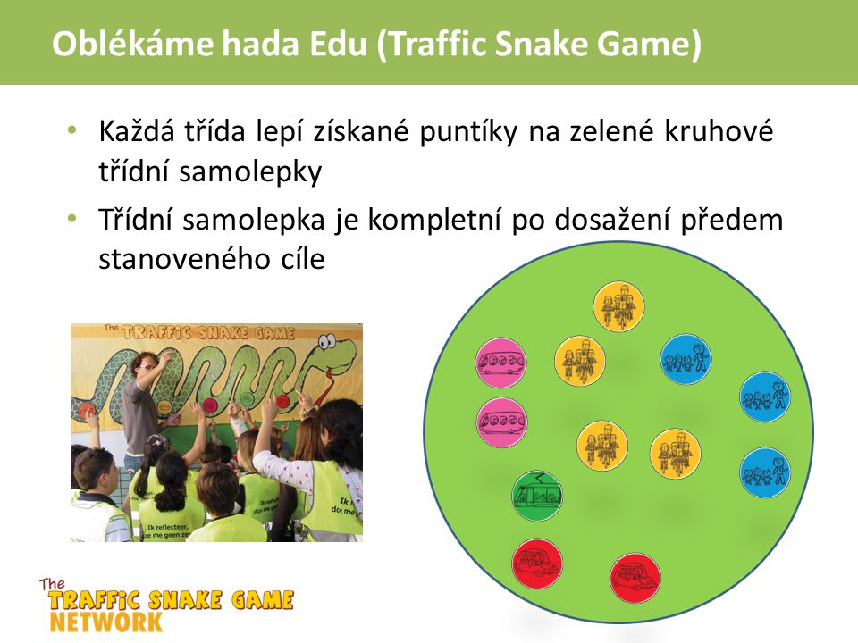 Oblékáme hada Edu (Traffic Snake Game) Každá třída lepí získané puntíky na zelené kruhové třídní samolepky Třídní samolepka je kompletní po dosažení předem stanoveného cíle