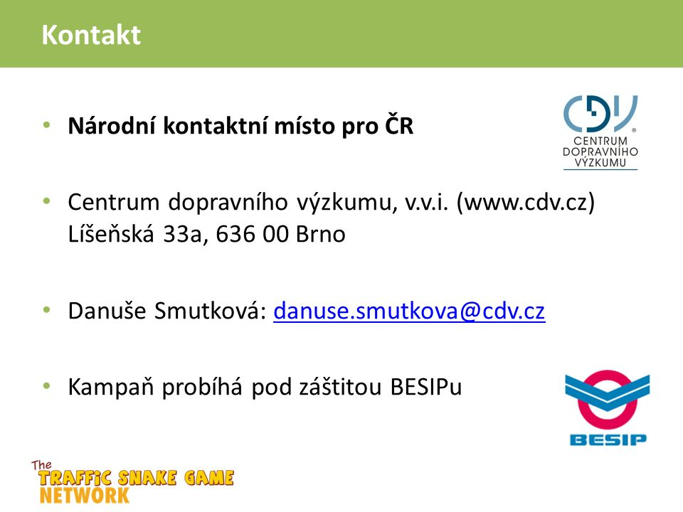 Kontakt Národní kontaktní místo pro ČR Centrum dopravního výzkumu, v.v.i.