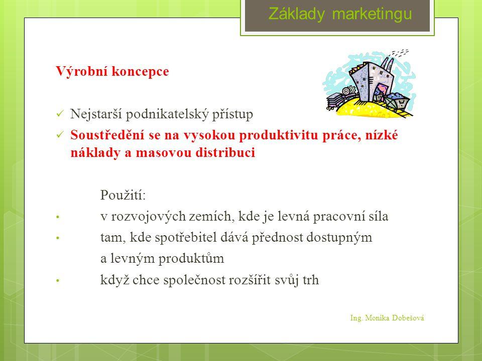 Ing. Monika Dobešová Výrobní koncepce Nejstarší podnikatelský přístup Soustředění se na vysokou produktivitu práce, nízké náklady a masovou distribuci