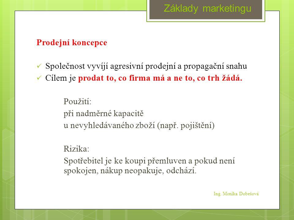 Ing. Monika Dobešová Prodejní koncepce Společnost vyvíjí agresivní prodejní a propagační snahu Cílem je prodat to, co firma má a ne to, co trh žádá. P