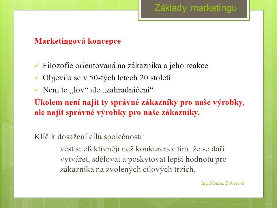 """Ing. Monika Dobešová Marketingová koncepce Filozofie orientovaná na zákazníka a jeho reakce Objevila se v 50-tých letech 20.století Není to """"lov"""" ale"""
