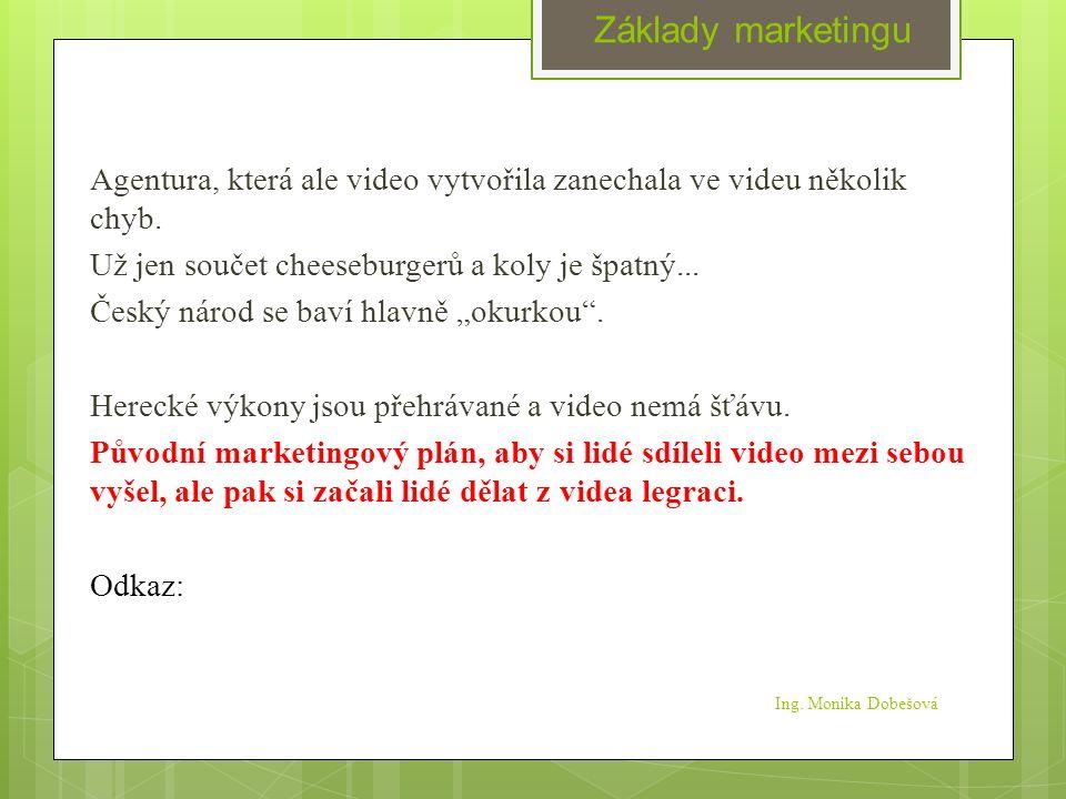 Ing.Monika Dobešová Agentura, která ale video vytvořila zanechala ve videu několik chyb.