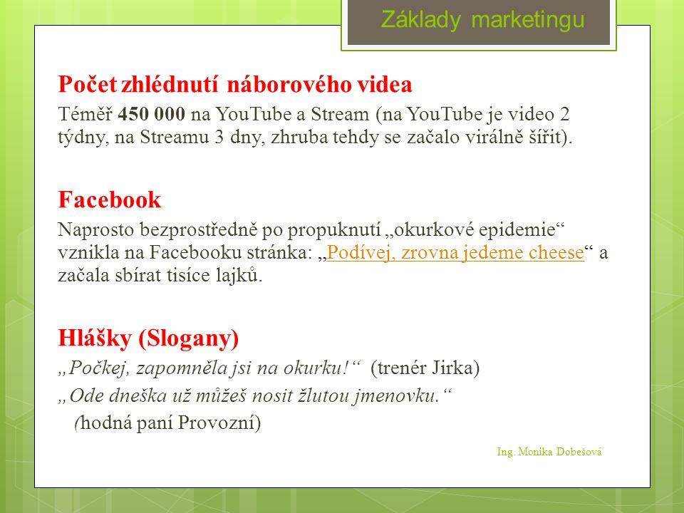 Ing. Monika Dobešová Počet zhlédnutí náborového videa Téměř 450 000 na YouTube a Stream (na YouTube je video 2 týdny, na Streamu 3 dny, zhruba tehdy s