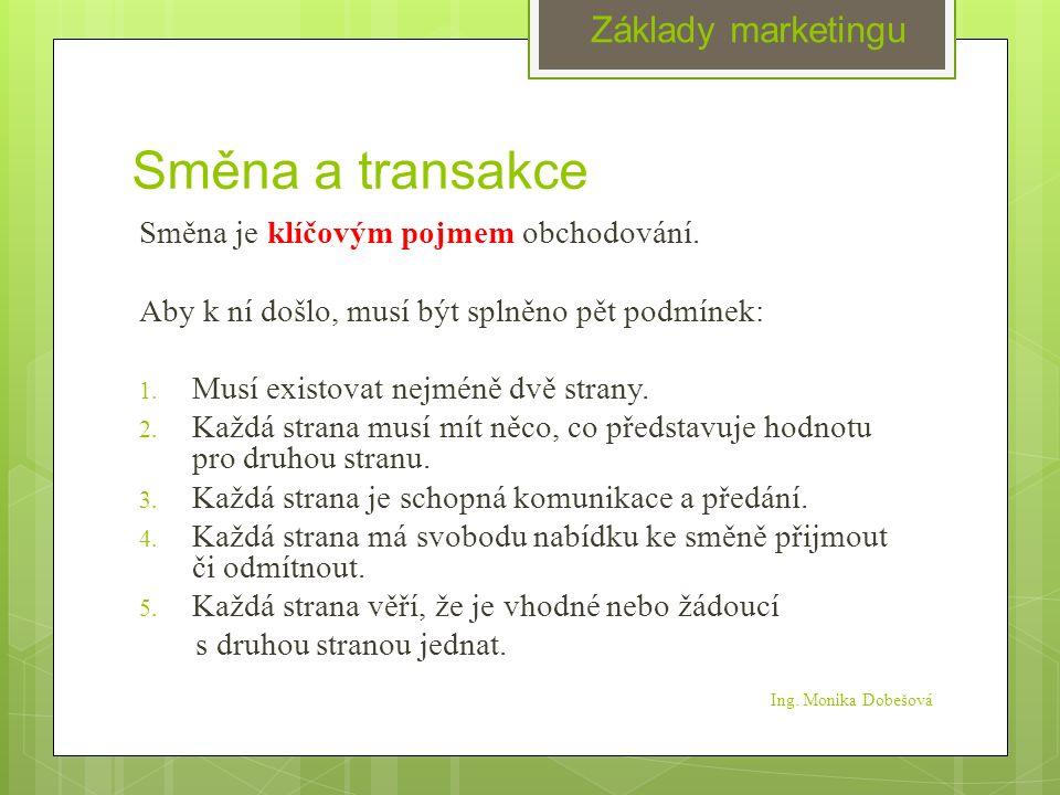 Směna a transakce Směna je klíčovým pojmem obchodování.