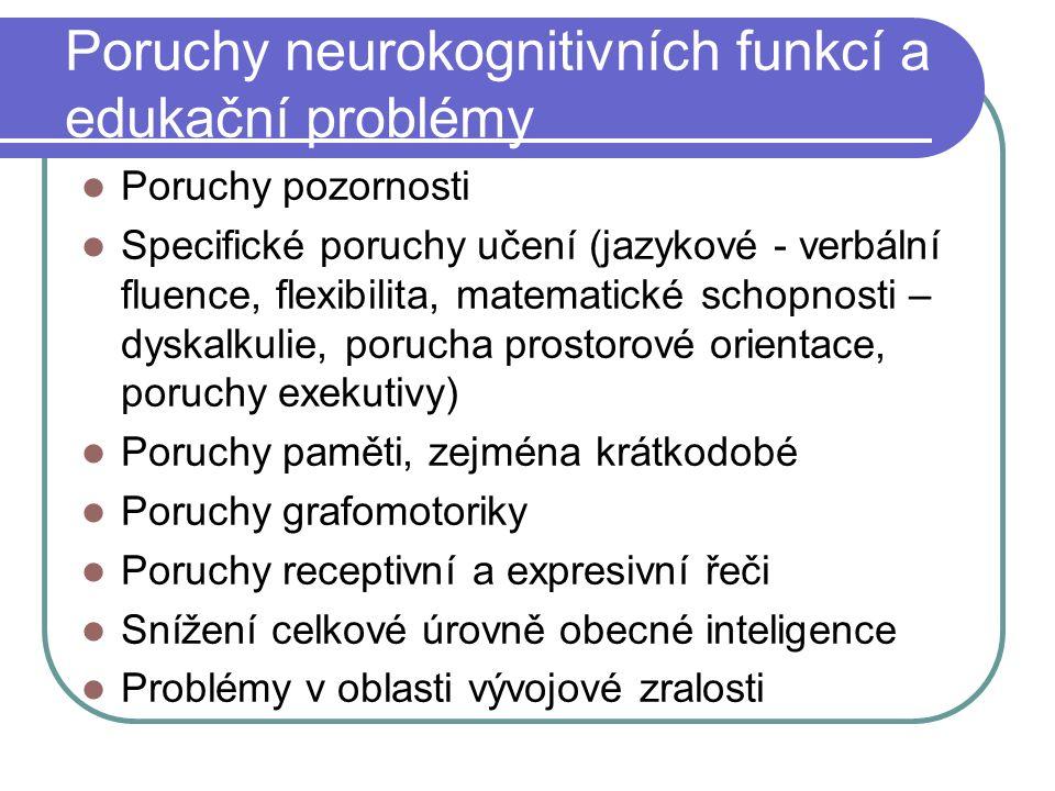 Poruchy neurokognitivních funkcí a edukační problémy Poruchy pozornosti Specifické poruchy učení (jazykové - verbální fluence, flexibilita, matematick