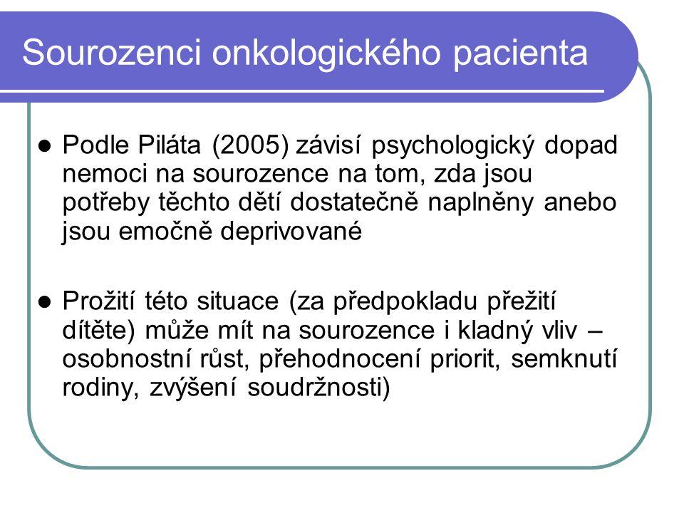 Sourozenci onkologického pacienta Podle Piláta (2005) závisí psychologický dopad nemoci na sourozence na tom, zda jsou potřeby těchto dětí dostatečně