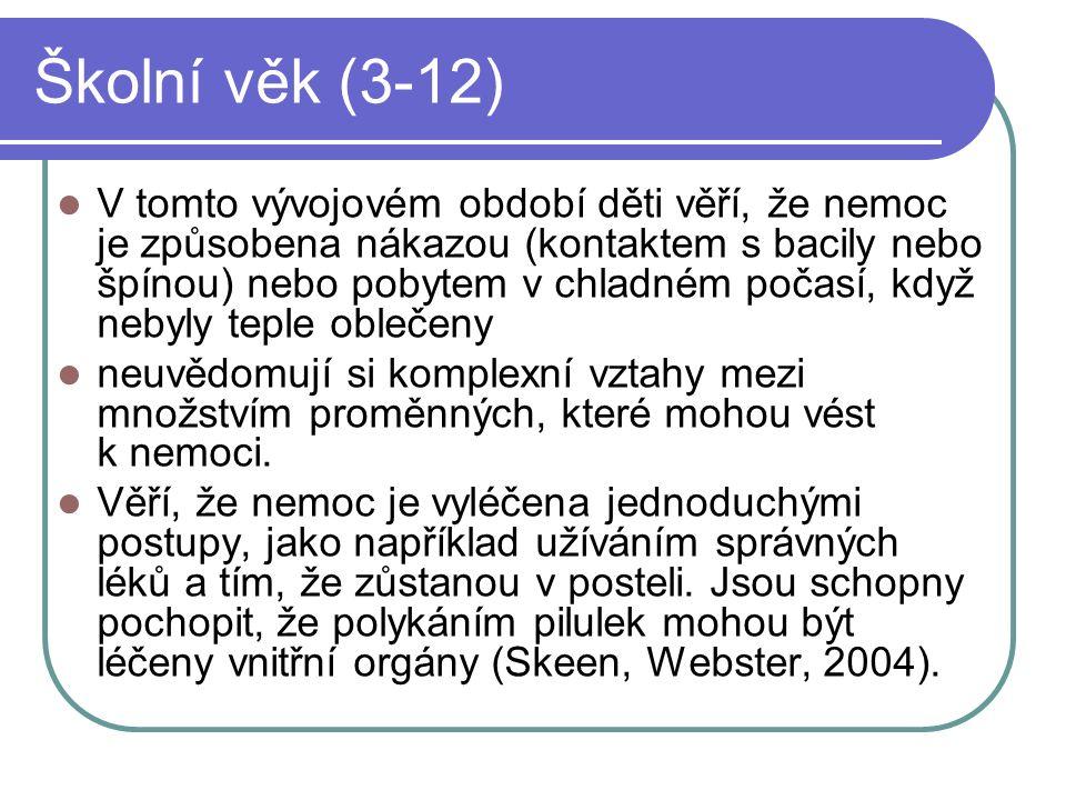 Školní věk (3-12) V tomto vývojovém období děti věří, že nemoc je způsobena nákazou (kontaktem s bacily nebo špínou) nebo pobytem v chladném počasí, k