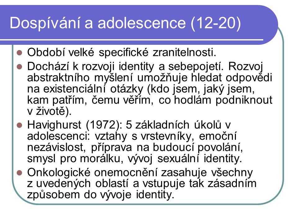 Dospívání a adolescence (12-20) Období velké specifické zranitelnosti. Dochází k rozvoji identity a sebepojetí. Rozvoj abstraktního myšlení umožňuje h