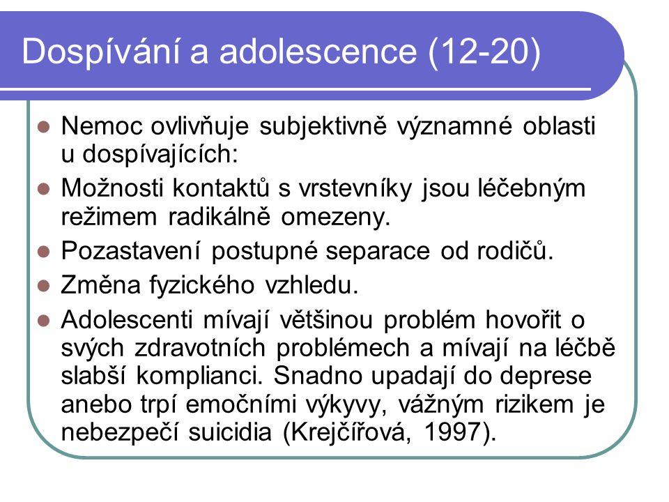 Dospívání a adolescence (12-20) Nemoc ovlivňuje subjektivně významné oblasti u dospívajících: Možnosti kontaktů s vrstevníky jsou léčebným režimem rad