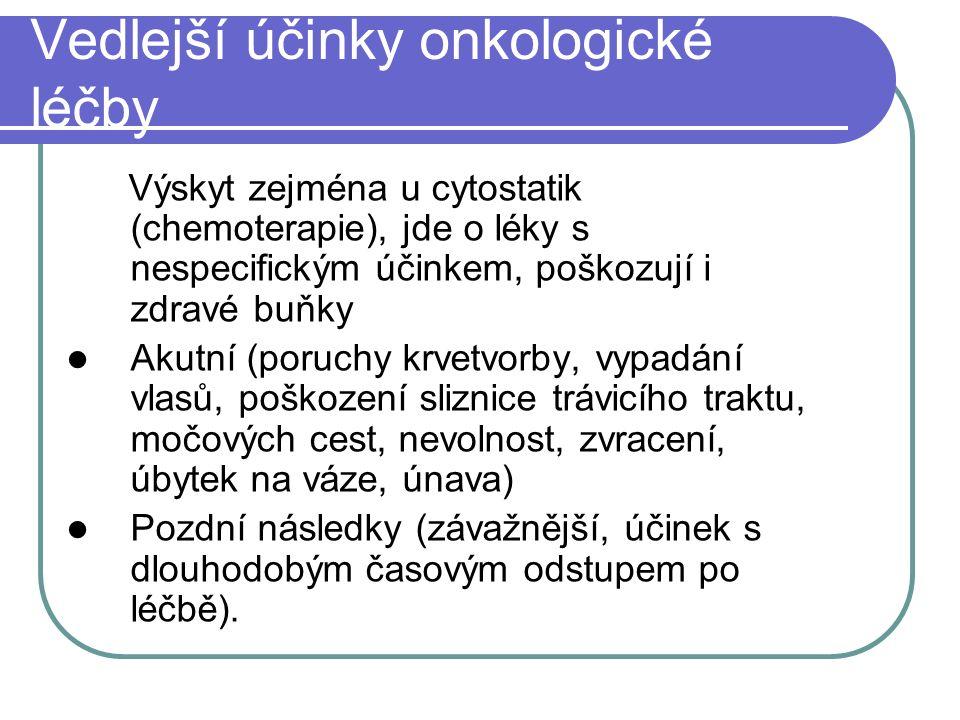 Vedlejší účinky onkologické léčby Výskyt zejména u cytostatik (chemoterapie), jde o léky s nespecifickým účinkem, poškozují i zdravé buňky Akutní (por