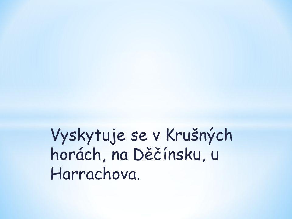 Vyskytuje se v Krušných horách, na Děčínsku, u Harrachova.