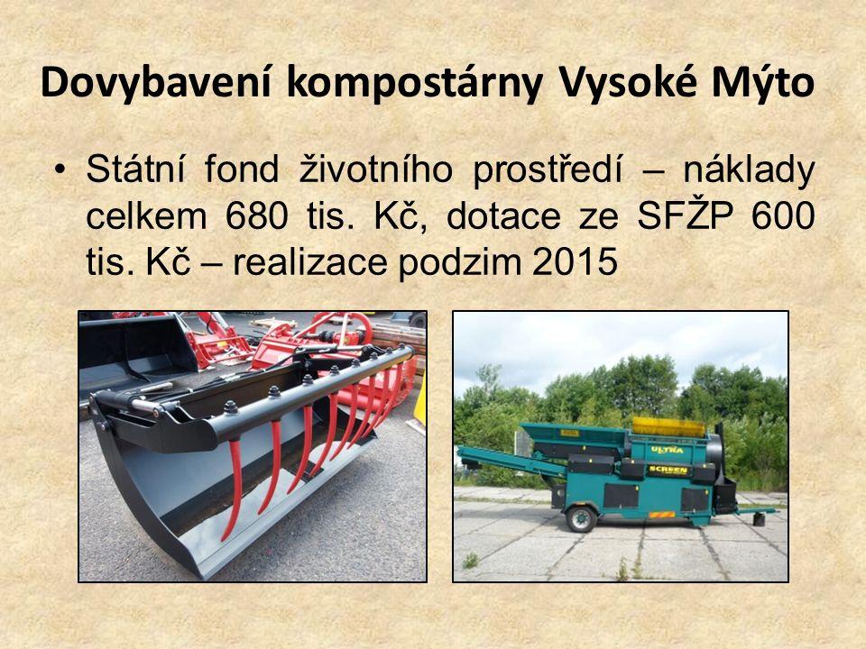 Dovybavení kompostárny Vysoké Mýto Státní fond životního prostředí – náklady celkem 680 tis. Kč, dotace ze SFŽP 600 tis. Kč – realizace podzim 2015