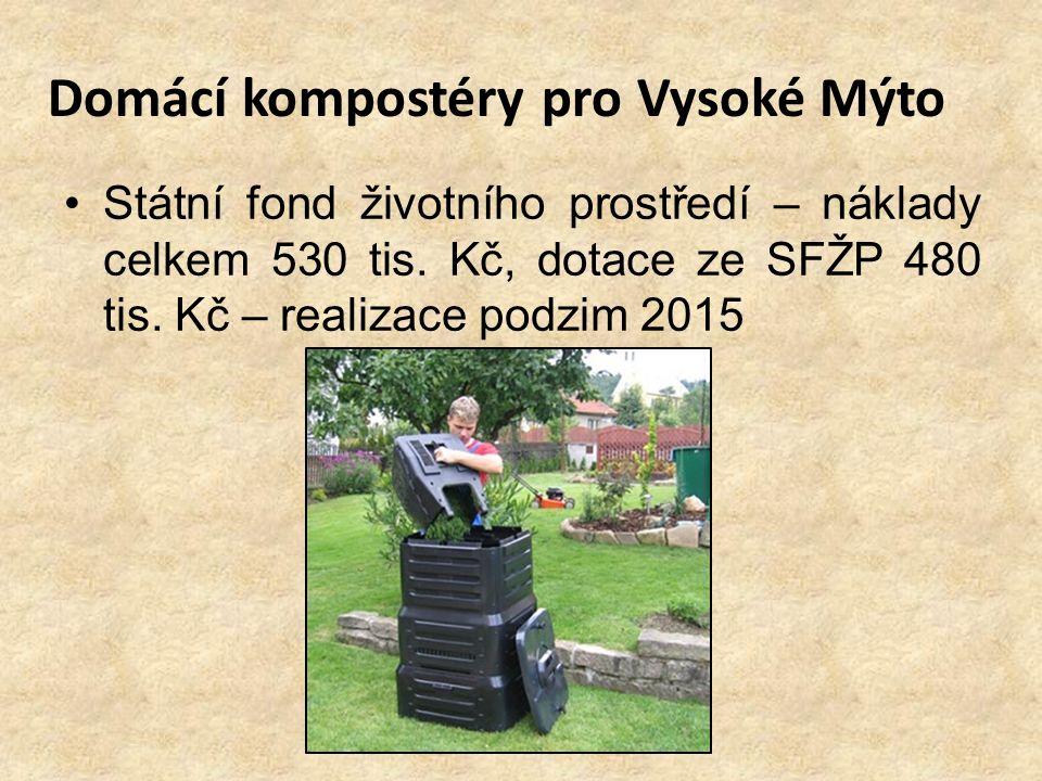 Domácí kompostéry pro Vysoké Mýto Státní fond životního prostředí – náklady celkem 530 tis. Kč, dotace ze SFŽP 480 tis. Kč – realizace podzim 2015