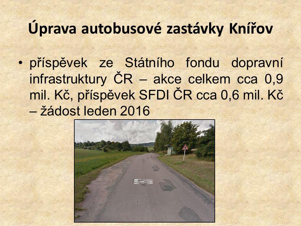 Úprava autobusové zastávky Knířov příspěvek ze Státního fondu dopravní infrastruktury ČR – akce celkem cca 0,9 mil. Kč, příspěvek SFDI ČR cca 0,6 mil.