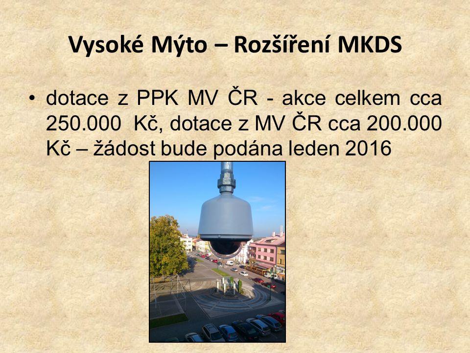 Vysoké Mýto – Rozšíření MKDS dotace z PPK MV ČR - akce celkem cca 250.000 Kč, dotace z MV ČR cca 200.000 Kč – žádost bude podána leden 2016