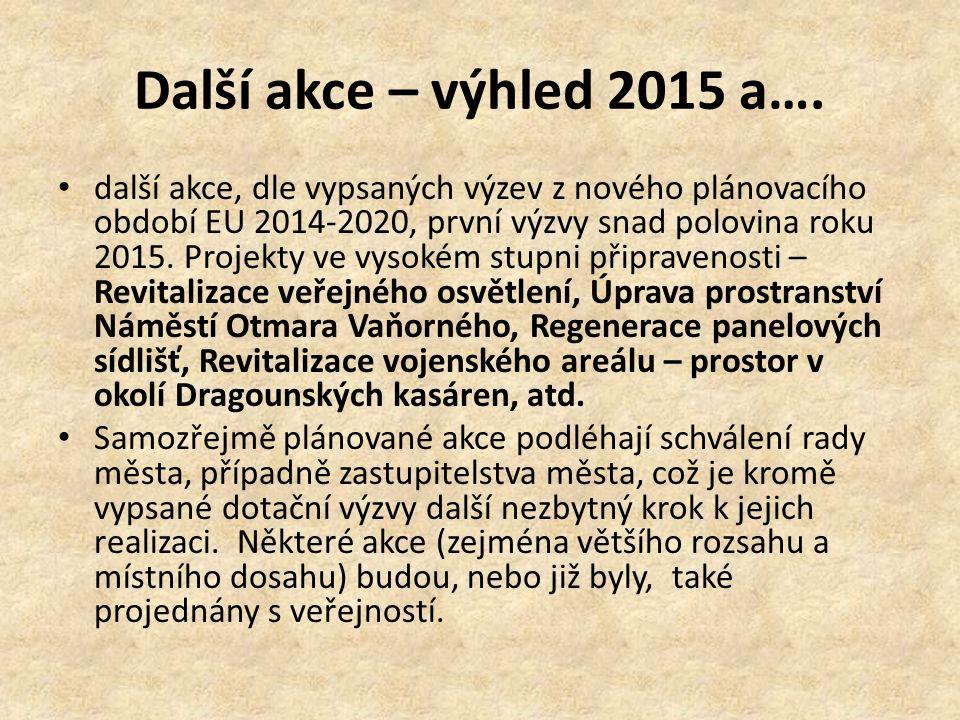 Další akce – výhled 2015 a…. další akce, dle vypsaných výzev z nového plánovacího období EU 2014-2020, první výzvy snad polovina roku 2015. Projekty v