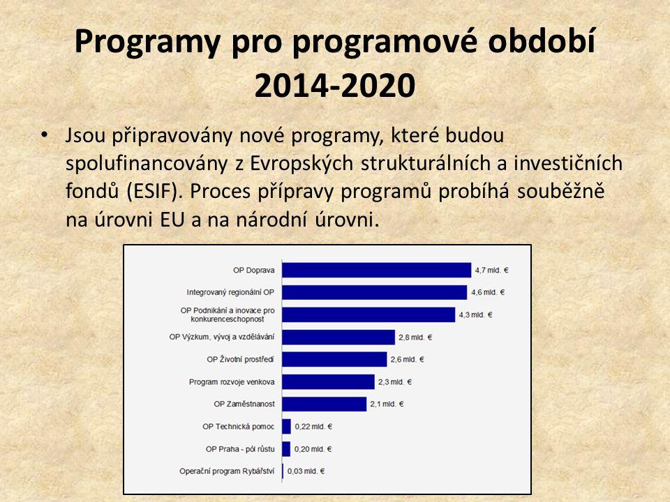 Programy pro programové období 2014-2020 Jsou připravovány nové programy, které budou spolufinancovány z Evropských strukturálních a investičních fondů (ESIF).