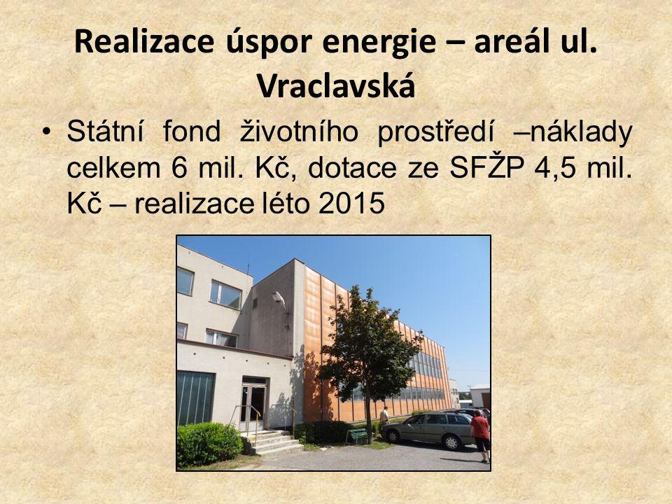 Realizace úspor energie – areál ul. Vraclavská Státní fond životního prostředí –náklady celkem 6 mil. Kč, dotace ze SFŽP 4,5 mil. Kč – realizace léto