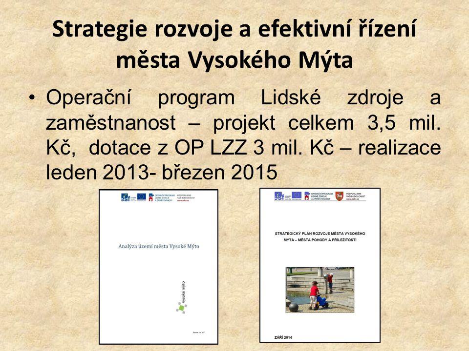 Strategie rozvoje a efektivní řízení města Vysokého Mýta Operační program Lidské zdroje a zaměstnanost – projekt celkem 3,5 mil. Kč, dotace z OP LZZ 3