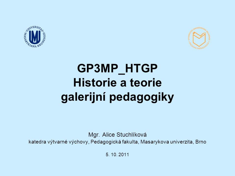 GP3MP_HTGP Historie a teorie galerijní pedagogiky Mgr.