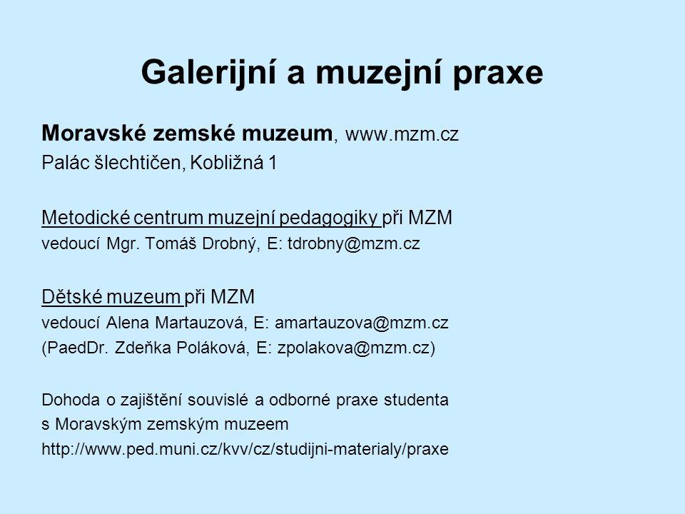 Galerijní a muzejní praxe Moravské zemské muzeum, www.mzm.cz Palác šlechtičen, Kobližná 1 Metodické centrum muzejní pedagogiky při MZM vedoucí Mgr.