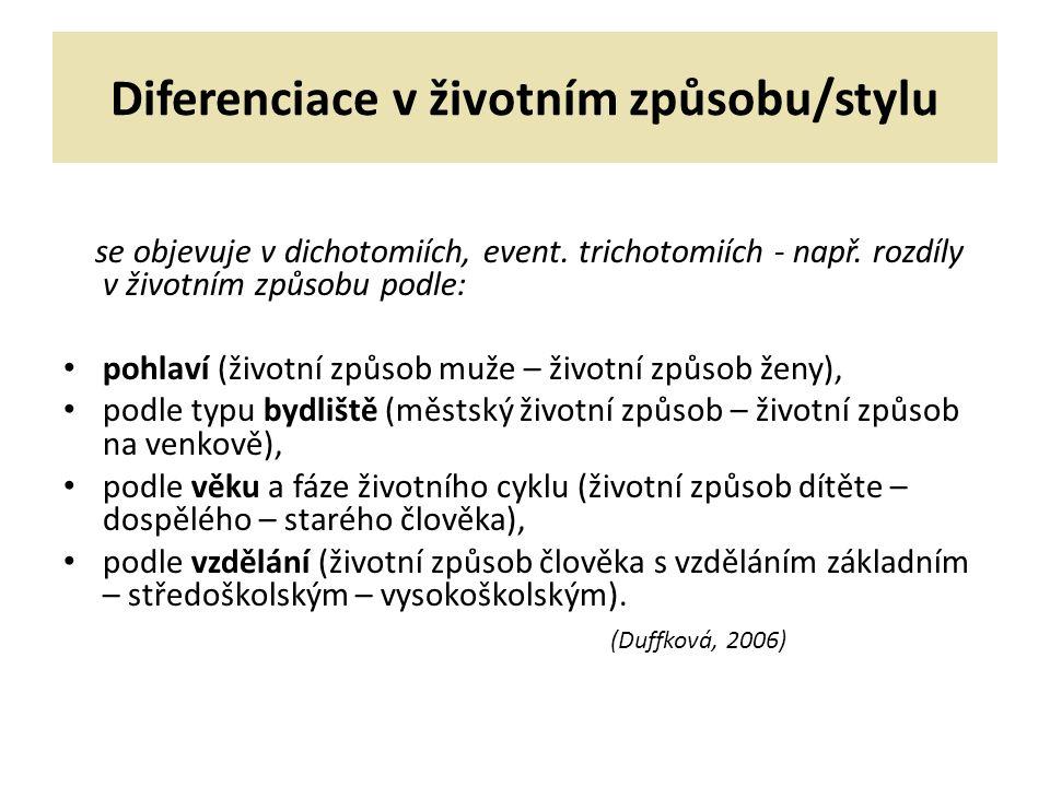 Diferenciace v životním způsobu/stylu se objevuje v dichotomiích, event.